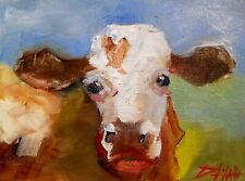 cow pasture animal 5x7 collectible oil painting art Delilah