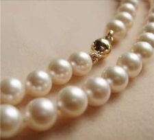"9-10MM AAA White Akoya Pearl Necklace 17"" 14K Gold Clasp002"