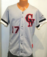 vtg CN #17 BASEBALL GAME Jersey LARGE Rawlings 80s/90s gray black red team issue