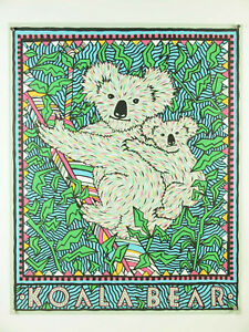 rare 1990 poster print KOALA BEAR ~ Felice Regan kids child animal decor 24x30""