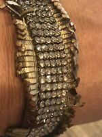 DANIEL SWAROVSKI PARIS GOLD LEATHER CRYSTAL BRACELET POPPER FASTENING 17 CM LONG