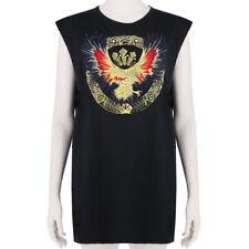 Balmain Gold Eagle Embroidered Appliqué Black Cotton Top Tank T-Shirt FR38 UK10