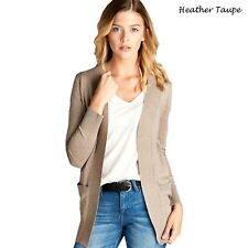 New Women Fashion Cardigan Long Sleeve Solid Open Front Sweater USA S to 2XL