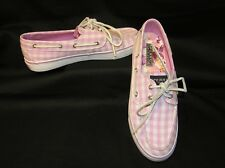 SPERRY TOP-SIDER BOAT DECK SHOES PINK WHITE SQUARES CHECKERBOARD WOMENS 7.5 $95