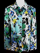 ADDITIONS BY CHICO'S Jacket Shirt Multi Color Splatter Snap Front Size 2 (12-14)