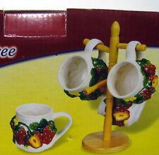 New Strawberry 4 Ceramic Mugs With Mug Tree 3D Strawberries