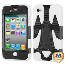 For Apple iPhone 4 4S Cyborg HYBRID KICKSTAND Rubber Case Phone Cover