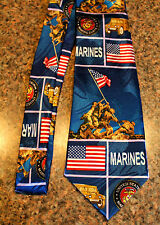 New Blue Neck Tie United States Marine Corps On A Poly Tie! #3 Harris 58'' L 3.8