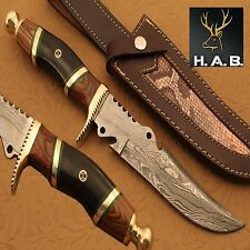 HAND MADE CUSTOM DAMASCUS STEEL HUNTING BOWIE  KNIFE (QN-373)
