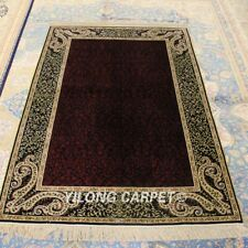Yilong 4'x6' Purple All Over Handmade Carpet Top Hand Knotted Silk Area Rug 196A