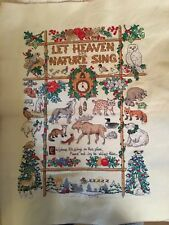 Completed Cross Stitch Large Christmas Let Heaven And Nature Sing Animals