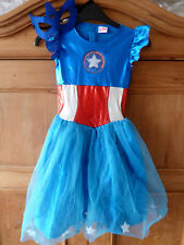 Marvel Universe American Captain Dream Girl Fancy Dress Outfit Costume 7-8 years