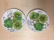 Pair of Vintage Vietri Ceramic Textural Purple Flowers & Green Leaves Wall Plate