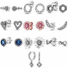 Pink Daisy Flower Earring 925 Silver Disney Hoop Stud Gift Christmas Pandora new