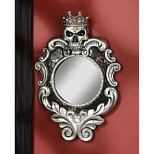 Gothic Crown and Skull Sculpture Wall Mirror King Queen Fairest One