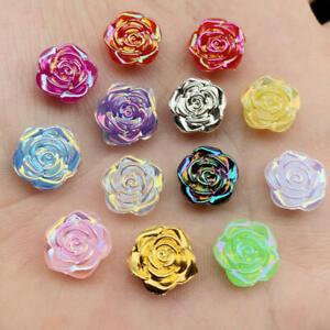 14mm Cute Resin Rose Flower Flatback Cabochon DIY Jewelry/Craft Decoration