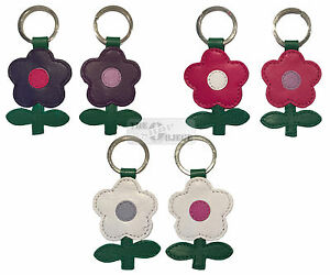 Mala Leather Molly Daisy Flower Key Ring Fob Gift Tag Purple White Pink