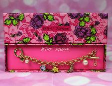 NIB $35 MSRP Betsey Johnson Charm Bracelet Glitter Star Moon Rhinestone Heart