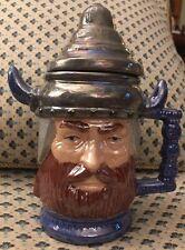 Viking Coffee Tea Mug with Viking Helmet as Lid Vintage Painted Ceramic