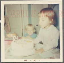 Unusual Vintage Photo Girl Blowing Birthday Cake Candles & Little Sister 754824