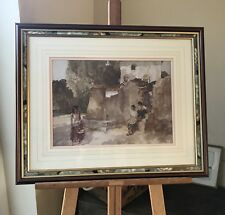 Sir William Russell Flint Print in a Mahogany & Hand Painted Frame