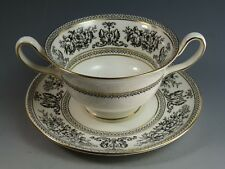 WEDGWOOD China - Black Colombia Pattern - Soup Coup and Saucer