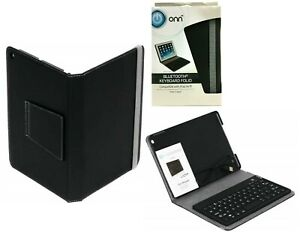 Onn Bluetooth Keyboard Case for Apple iPad Air Tablet Built In Stand Folio Case