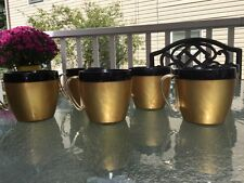 West Bend Thermo Cup Black & Gold Plastic Metal Handle Set Of 6 Excellent Cond.