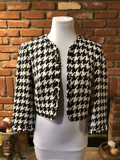 VINTAGE MOD URBAN Cropped Layering White Black Bolero Swing Brunch Jacket sz M