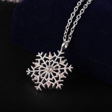 New Charm Silver Frozen Snowflake Necklace Chain Crystal Pendant Christmas Gift