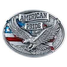 American Eagle USA Belt Buckle Man Black Leather Vintage Southwestern