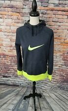 Nike Therma Fit Women's Grey Neon Green Pullover Athletic Hoodie Thumb Holes M