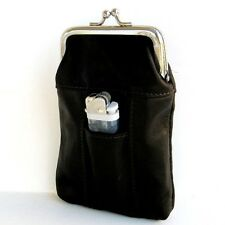 Black Leather Cigarette Pouch Lighter Holder Smoke Carrying Case Coin Purse