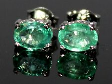 925 Sterling Silver Earrings Stud`s Jewelry natural Gemstone EMERALD 4X6 MM Oval