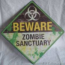 Zombie Sanctuary Metal Plaque. Walking Dead Novelty Wall Hanging Sign Apocolypse