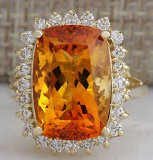 8.87 Carat Natural Citrine 14K Yellow Gold Diamond Ring