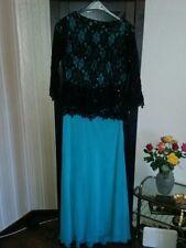 Abendkleid Kleid Hochzeit Verlobung Spitze lang blau schwarz Gr. 44 46 L XL