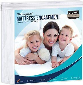Utopia Bedding Zippered Mattress Encasement Twin 100% Waterproof Protector Cover