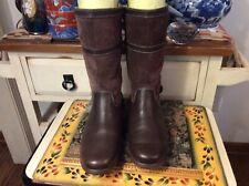 Sebago Docksides Women US 7M  leather/ Suede Zip sheeling mid-calf Boots brown