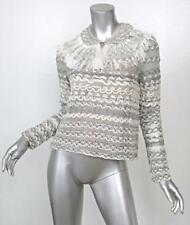 CHANEL Ostrich Peter Pan Collar Metallic Knit Top Blouse LOOK#32 SS11 36