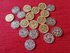 100 Metal Pirate Treasure Coin Assortment in 2 Muslin Cotton Pirate Cloth Bags