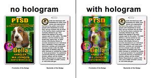 PTSD service Dog photo ID ADA green Badge wallet card ID
