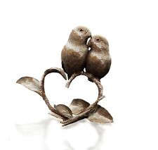 More details for bronze lovebirds on heart branch- limited edition 250 - michael simpson.