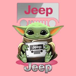 Mandalorian baby Yoda Grogu Pink Jeep Sticker