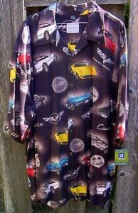 New David Carey GM C1..C6 Classic Corvettes Brown Camp Shirt Mens 3XL NWT