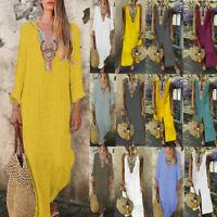 Women Boho Linen Sleeveless V-neck Maxi Dress Split Hem Baggy Kaftan Long Dress