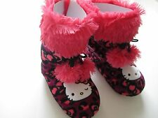 NWOB HELLO KITTY Girl's Winter House Slipper Booties Dark Pink/Black S (5-6)