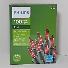 Philips 100 CT Mini String Lights Red Indoor Outdoor Christmas Valentines Patio