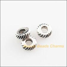 35Pcs Tibetan Silver Tone Wheel Round Spacer Beads Charms 5.5mm
