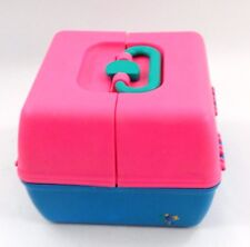 VGUC 1980s Retro Pink Blue Turquoise Kidz Caboodle Makeup Jewelry Craft Case